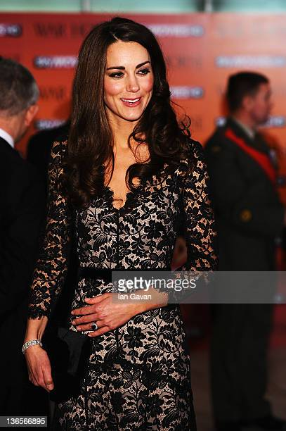 Catherine Duchess of Cambridge attends the UK premiere of War Horse at the Odeon Leicester Square on January 8 2012 in London England
