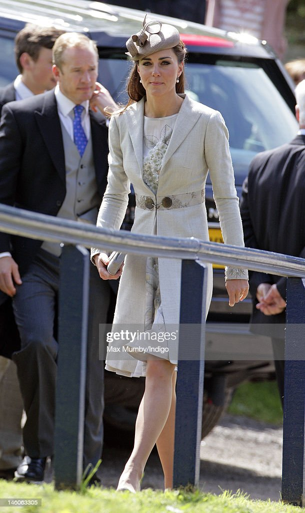Catherine, Duchess of Cambridge attends the wedding of Emily McCorquodale and James Hutt at The Church of St Andrew and St Mary, Stoke Rochford on June 9, 2012 in Grantham, England.