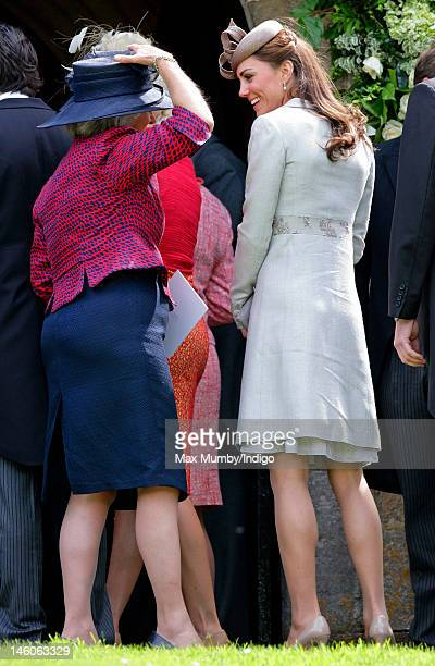 Catherine Duchess of Cambridge attends the wedding of Emily McCorquodale and James Hutt at The Church of St Andrew and St Mary Stoke Rochford on June...