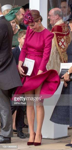 Catherine, Duchess of Cambridge attends the wedding of Princess Eugenie of York to Jack Brooksbank at St. George's Chapel on October 12, 2018 in...
