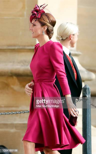 Catherine Duchess of Cambridge attends the wedding of Princess Eugenie of York and Jack Brooksbank at St George's Chapel on October 12 2018 in...