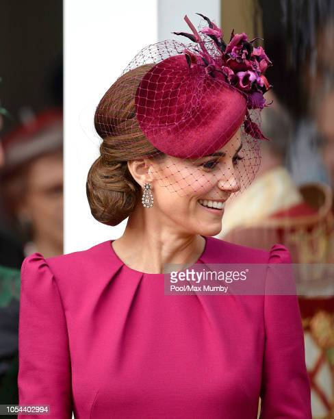 Catherine, Duchess of Cambridge attends the wedding of Princess Eugenie of York and Jack Brooksbank at St George's Chapel on October 12, 2018 in...