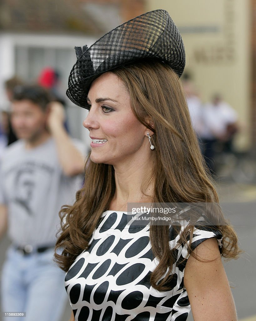 Catherine, Duchess of Cambridge attends the wedding of Sam Waley-Cohen and Annabel Ballin at St. Michael and All Angels church on June 11, 2011 in Lambourn, England.