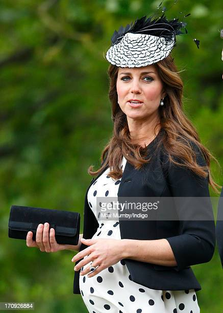 Catherine Duchess of Cambridge attends the wedding of William van Cutsem and Rosie Ruck Keene at the church of St Mary the Virgin in Ewelme on May 11...