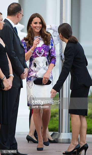 Catherine Duchess of Cambridge attends the welcome ceremony on arrival at the Istana on day 1 of their Diamond Jubilee tour on September 11 2012 in...