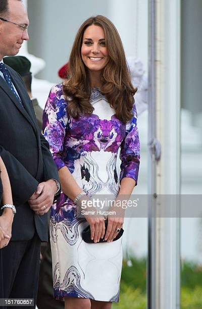 Catherine, Duchess of Cambridge attends the welcome ceremony on arrival at the Istana on day 1 of their Diamond Jubilee tour on September 11, 2012 in...