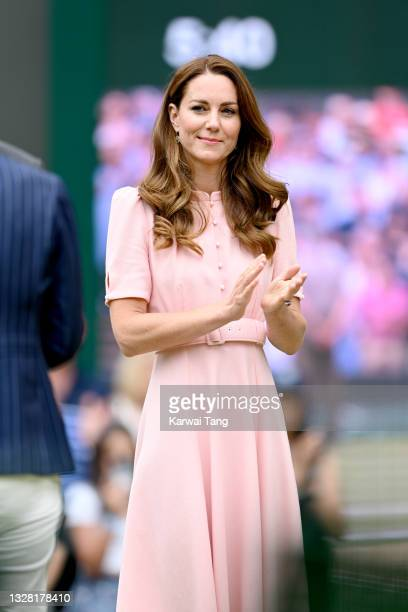 Catherine, Duchess of Cambridge attends the Wimbledon Championships Tennis Tournament at All England Lawn Tennis and Croquet Club on July 11, 2021 in...