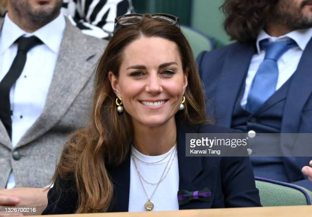 Catherine, Duchess of Cambridge attends the Wimbledon Tennis Championships at the All England Lawn Tennis and Croquet Club on July 02, 2021 in...