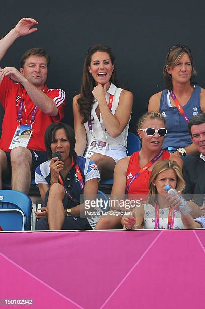 Catherine, Duchess of Cambridge attends the Women's Hockey bronze medal match between New Zealand and Great Britain on Day 14 of the London 2012...