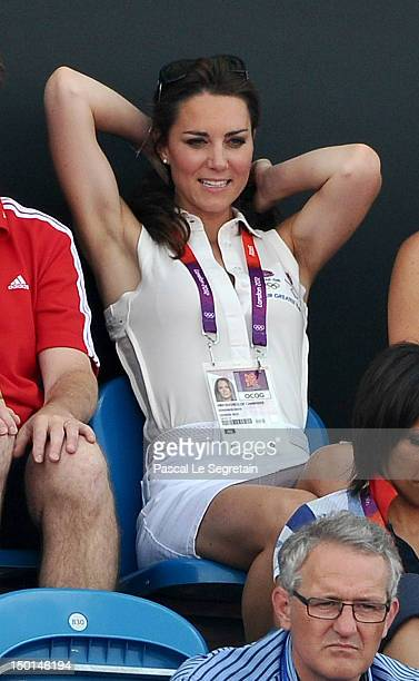 Catherine Duchess of Cambridge attends the Women's Hockey bronze medal match between New Zealand and Great Britain on Day 14 of the London 2012...