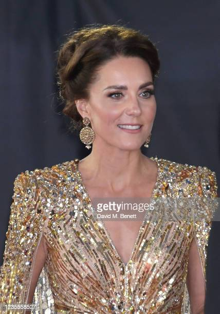 """Catherine, Duchess of Cambridge attends the World Premiere of """"No Time To Die"""" at the Royal Albert Hall on September 28, 2021 in London, England."""