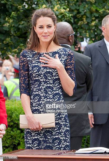 Catherine Duchess of Cambridge attends the wreath laying ceremony at the National War Memorial on day 1 on the Royal Couple's North American Tour on...