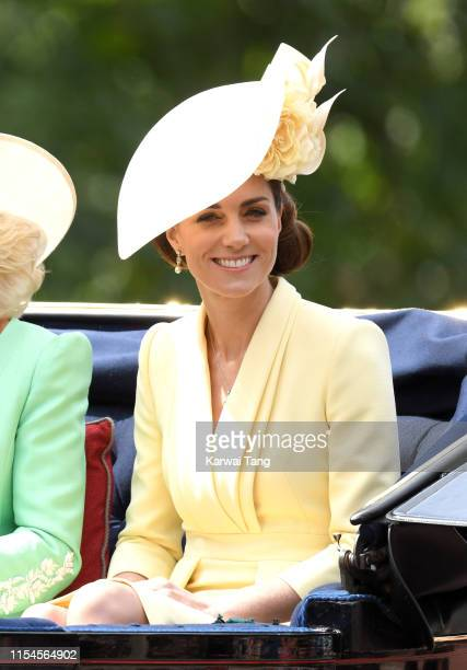 Catherine, Duchess of Cambridge attends Trooping The Colour, the Queen's annual birthday parade, on June 08, 2019 in London, England.