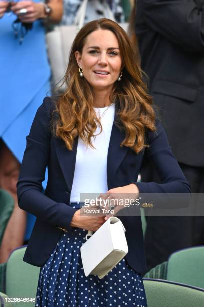 Catherine, Duchess of Cambridge attends Wimbledon Championships Tennis Tournament at All England Lawn Tennis and Croquet Club on July 02, 2021 in...