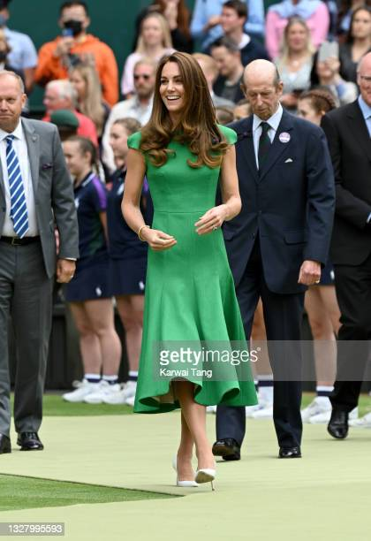 Catherine, Duchess of Cambridge attends Wimbledon Championships Tennis Tournament at All England Lawn Tennis and Croquet Club on July 10, 2021 in...