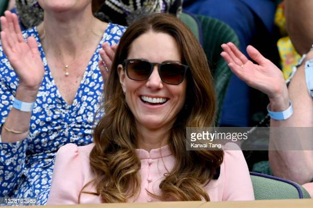 Catherine, Duchess of Cambridge attends Wimbledon Championships Tennis Tournament at All England Lawn Tennis and Croquet Club on July 11, 2021 in...