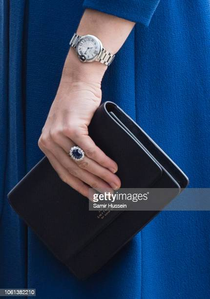 Catherine Duchess of Cambridge bag and watch detail arrives to officially open McLaren AutomotiveÕs new Composites Technology Centre on November 14...