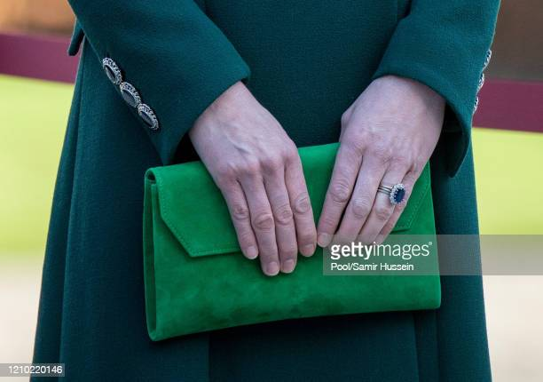 Catherine Duchess of Cambridge bag detail attends a commemorative wreath laying ceremony in the Garden of Remembrance at Aras an Uachtarain during...