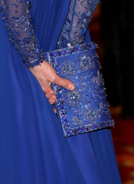 Catherine Duchess of Cambridge bag detail hosts a Gala Dinner in celebration of the 25th anniversary of Place2Be at Buckingham Palace on March 09...