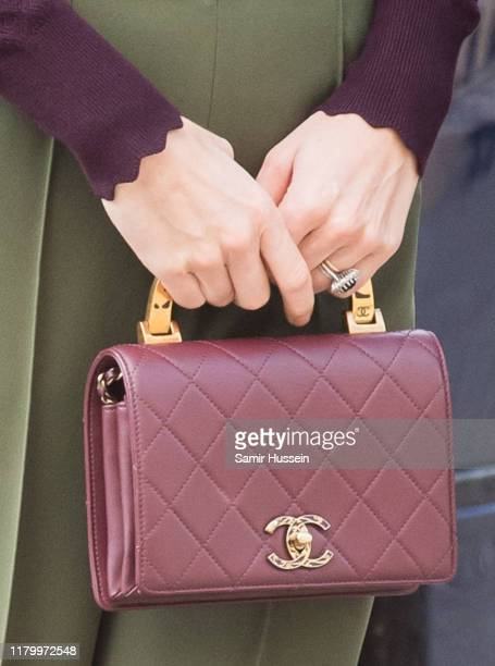 Catherine Duchess of Cambridge bag detail visits The Angela Marmont Centre For UK Biodiversity at Natural History Museum on October 09 2019 in London...