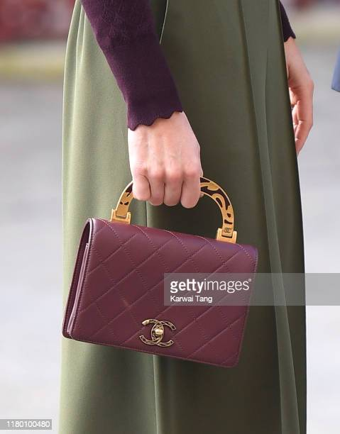 Catherine, Duchess of Cambridge, bag detail, visits The Angela Marmont Centre For UK Biodiversity at Natural History Museum on October 09, 2019 in...