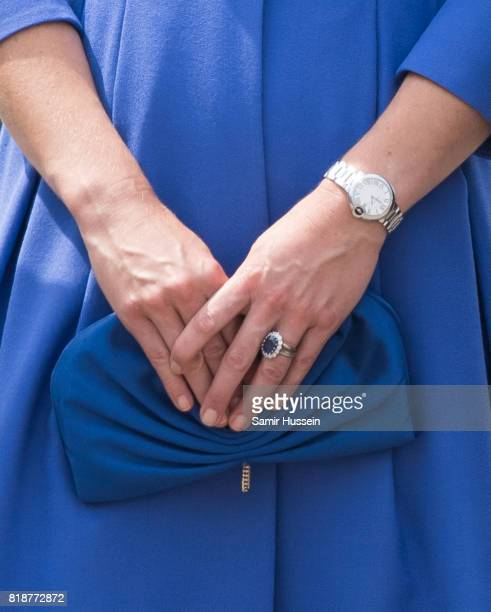 Catherine Duchess of Cambridge bag detail visits the Brandenburg Gate during an official visit to Poland and Germany on July 19 2017 in Berlin Germany
