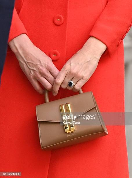 Catherine, Duchess of Cambridge, bag detail, visits the National Portrait Gallery Archive on May 07, 2021 in London, England.