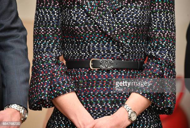 Catherine Duchess of Cambridge belt detail visits Les Invalides military hospital during an official twoday visit to Paris on March 18 2017 in Paris...