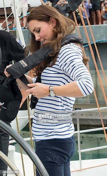 Catherine Duchess of Cambridge boards the New Zealand's Americas Cup Team yacht during their visit to Auckland Harbour on April 11 2014 in Auckland...