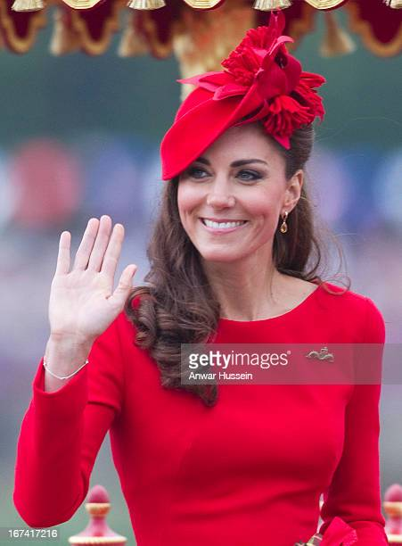 Catherine Duchess of Cambridge boards the royal barge 'Spirit of Chartwell' for the Thames Diamond Jubilee Pageant on the River Thames in London on...