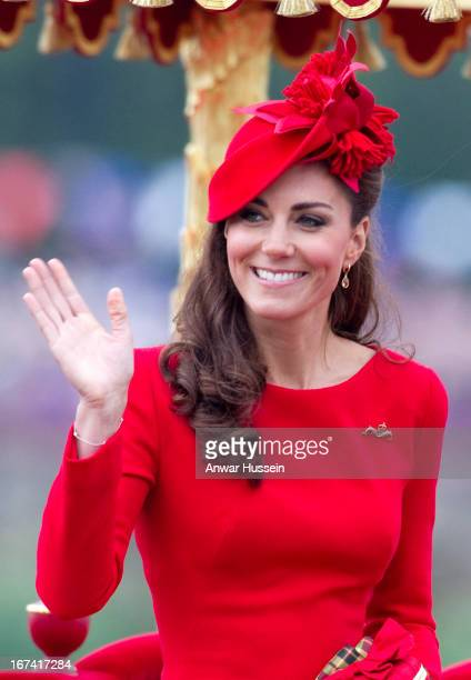 Catherine, Duchess of Cambridge boards the royal barge 'Spirit of Chartwell' for the Thames Diamond Jubilee Pageant on the River Thames in London, on...