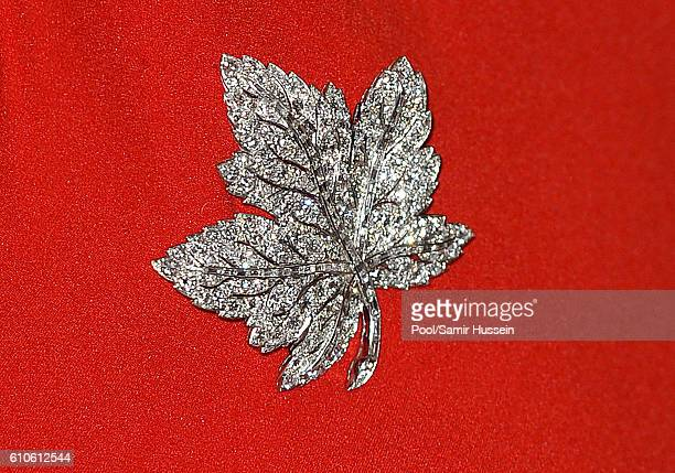 Catherine Duchess of Cambridge broach detail as she attends a Goverment of British Columbia reception at Government House on September 26 2016 in...