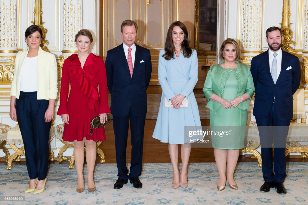 Catherine, Duchess of Cambridge (3rd R) calls on Their Royal Highnesses Grand Duke Henri of Luxembourg (3rd L), Grand Duchess Maria Teresa of Luxembourg (2nd R), Princess Alexandra of Luxembourg (L), Princess Stephanie of Luxembourg (2nd L) and Prince Guillaume of Luxembourg (R) during a one day visit to Luxembourg at Palais Grand Ducale on May 11, 2017 in Luxembourg, Luxembourg.