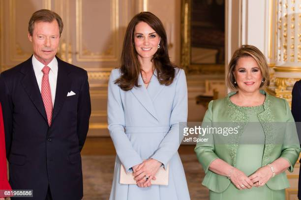 Catherine Duchess of Cambridge calls on Their Royal Highnesses Grand Duke Henri of Luxembourg and Grand Duchess Maria Teresa of Luxembourg during a...