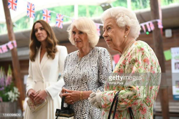 Catherine, Duchess of Cambridge , Camilla, Duchess of Cornwall and Queen Elizabeth II meet people from communities across Cornwall at an event in...