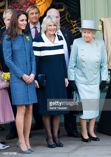 Catherine, Duchess of Cambridge, Camilla, Duchess of Cornwall and Queen Elizabeth II visit Fortnum & Mason on March 1, 2012 in London, England.