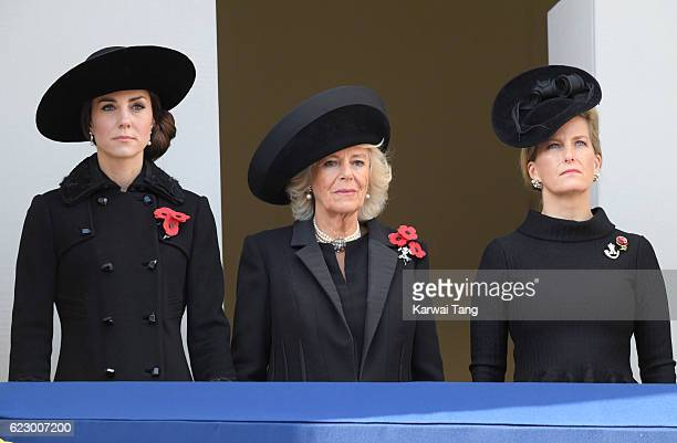 Catherine Duchess of Cambridge Camilla Duchess of Cornwall and Sophie Countess of Wessex attend the annual Remembrance Sunday Service at the Cenotaph...