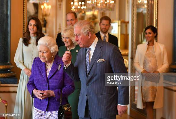 Catherine, Duchess of Cambridge, Camilla, Duchess of Cornwall, Prince William, Duke of Cambridge, Prince Harry, Duke of Sussex, Queen Elizabeth II,...