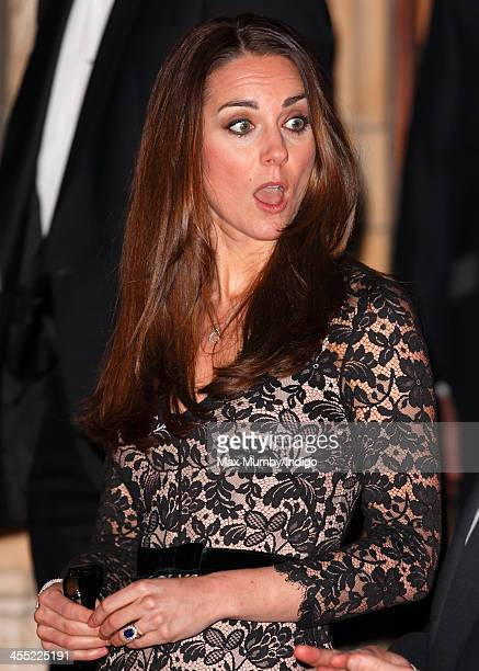 Catherine Duchess of Cambridge carries a pair of 3D glasses as she leaves a screening of David Attenborough's Natural History Museum Alive 3D at the...