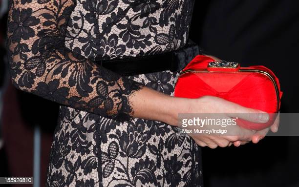 Catherine Duchess of Cambridge carries her Alexander McQueen clutch bag as she attends a gala dinner in aid of the University of St Andrews 600th...