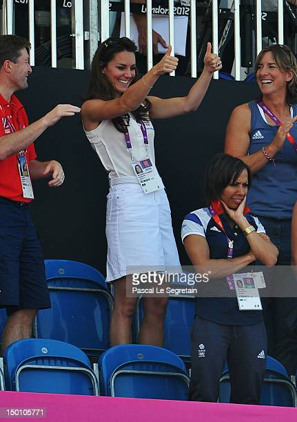 Catherine, Duchess of Cambridge celebrates after the Women's Hockey bronze medal match between New Zealand and Great Britain on Day 14 of the London...