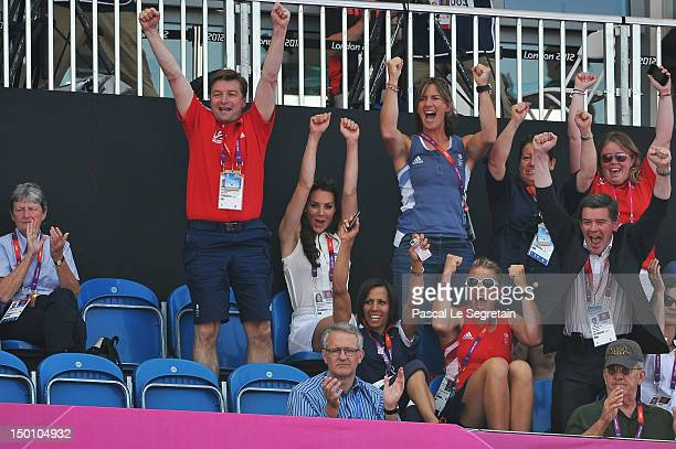 Catherine, Duchess of Cambridge celebrates during the Women's Hockey bronze medal match between New Zealand and Great Britain on Day 14 of the London...