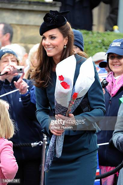 Catherine Duchess of Cambridge chats to wellwishers outside Leicester Cathedral as she accompanies The Queen and the Duke of Edinburgh on a visit to...