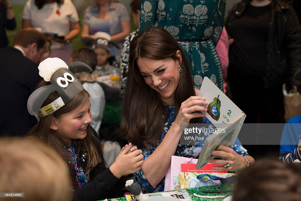 Catherine, Duchess of Cambridge chats with children and representatives from charities and Aardman Animations, during a meeting of the Charities Forum at BAFTA on October 26, 2015 in London, United Kingdom.