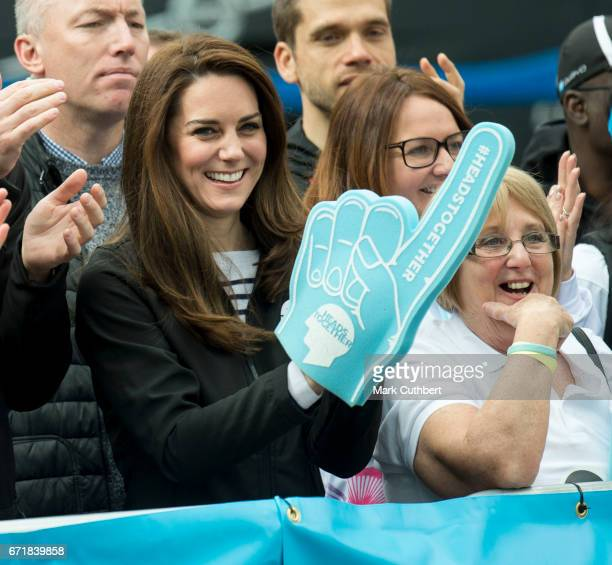 Catherine Duchess of Cambridge cheering on runners during the 2017 Virgin Money London Marathon on April 23 2017 in London England