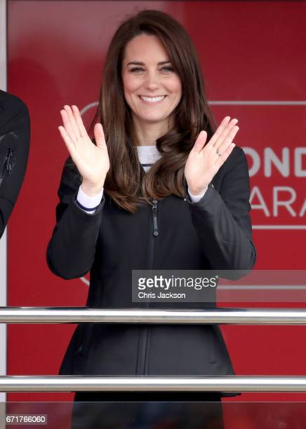 Catherine Duchess of Cambridge cheers on runners as they signal the start of the 2017 Virgin Money London Marathon on April 23 2017 in London England