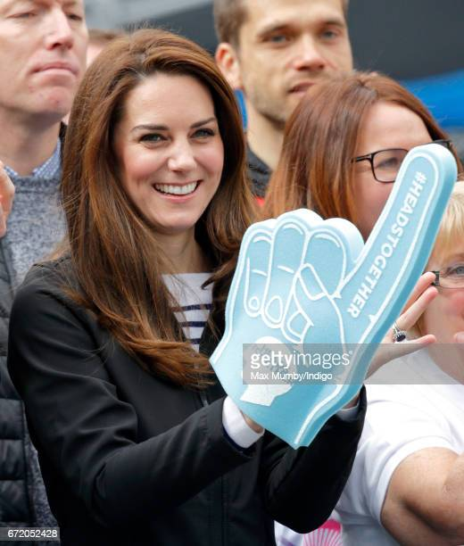 Catherine, Duchess of Cambridge cheers on runners talking part in the 2017 Virgin Money London Marathon on April 23, 2017 in London, England. The...
