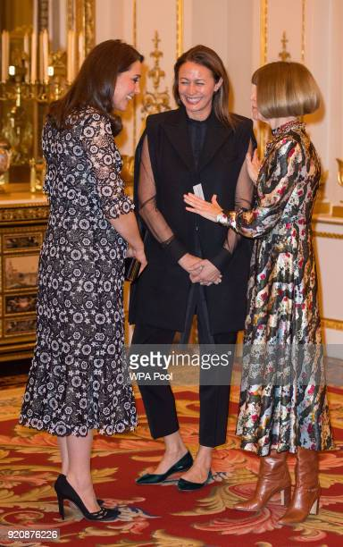 Catherine Duchess of Cambridge Chief Executive of the British Fashion Council Caroline Rush and Anna Wintour attend The Commonwealth Fashion Exchange...