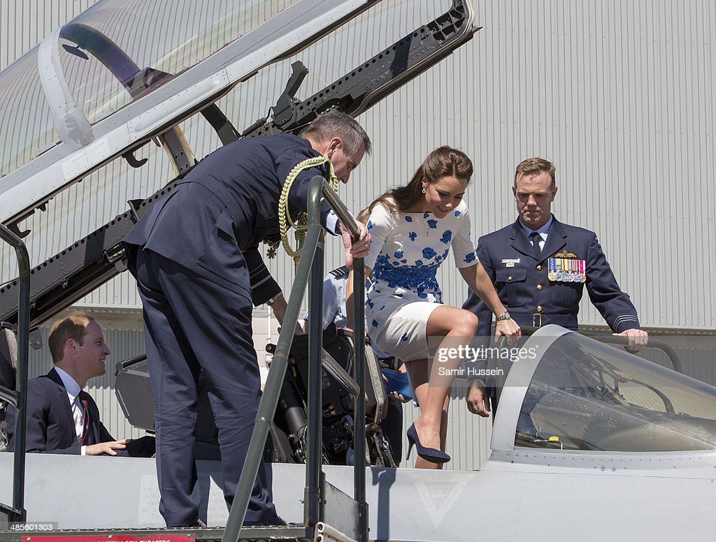 Catherine, Duchess of Cambridge climbs into the cockpit of a RAAF Super Hornet Royal Australian Airforce Base at Amberley on April 19, 2014 in Brisbane, Australia. The Duke and Duchess of Cambridge are on a three-week tour of Australia and New Zealand, the first official trip overseas with their son, Prince George of Cambridge.