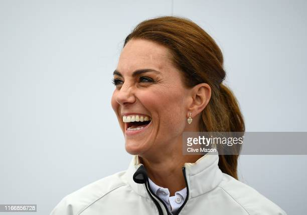 Catherine, Duchess of Cambridge competing on behalf of The Royal Foundation during the prizegiving at the inaugural King's Cup regatta much to the...